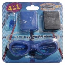 AQUASTART SET: plavecké brýle, čepice, špunty, vak