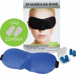 Modrá 3D maska na oči na spaní + ŠPUNTY DO UŠÍ