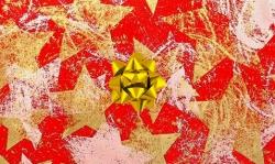 Dárkové balení zboží červený sáček + zlatá rozetka