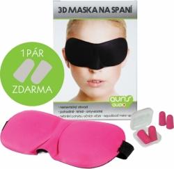 Růžová 3D maska na oči na spaní + ŠPUNTY DO UŠÍ