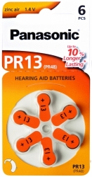 6 x baterie do sluchadel Panasonic PR13(48)/6LB